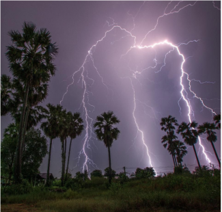 Thunderstorm at outdoor nighttime . Rainy season concept GETTY
