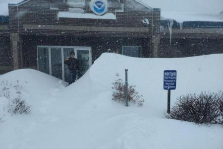 Snow at a National Weather Service office. NWS